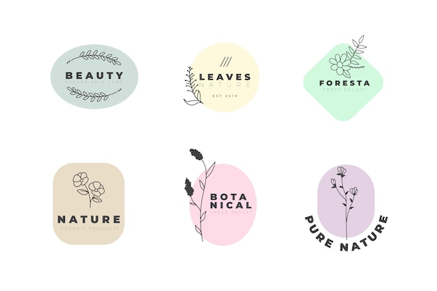 Natural business logo template  in minimal style set