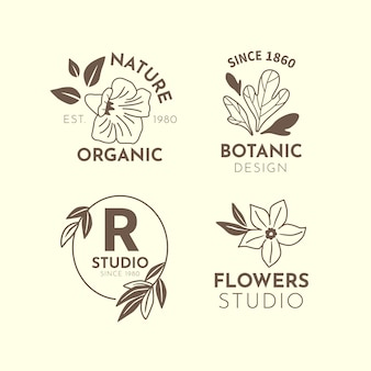 Natural business in minimal style logo collection