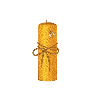 Natural candle made of beeswax with honeycomb ornament sketch vector illustration isolated natural