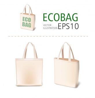 자연 캔버스 소재 쇼핑백 일러스트 모형. 판매, 쇼핑, 홍보, 기업의 정체성, 데모를위한 에코 스타일 현실적인 가방 템플릿