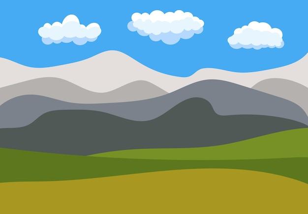 Природный мультяшный пейзаж в плоском стиле с голубым небом, облаками, холмами и горами. векторная иллюстрация