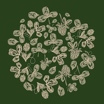 클로버와 홉 가지의 잎을 가진 자연 원 성 패트릭의 날 구성