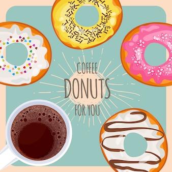 Натуральный кофе и сладкие пончики в глазури с окроплением для вас рекламного плаката