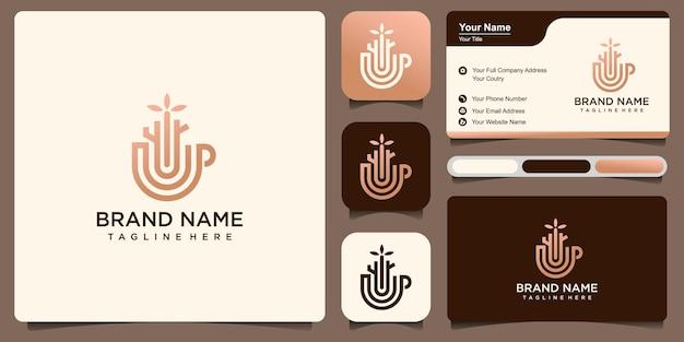 컵과 나무 로고 디자인 및 명함이 조합된 천연 커피 로고 디자인 요소