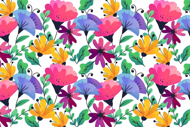 Natural colourful exotic flowers and leaves background