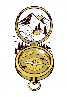 Natural compass illustration