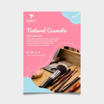 Natural cosmetic flyer print template