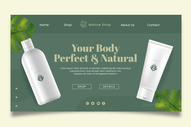 Natural cosmetic landing page template