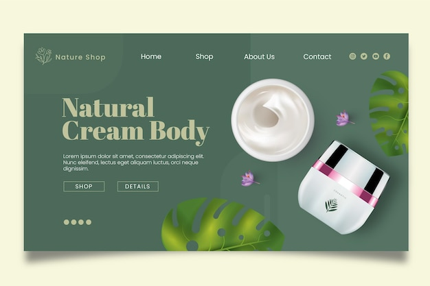 Natural cosmetic landing page