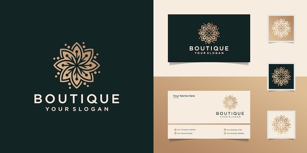 Натуральный косметический логотип с цветочным орнаментом, шаблоном и визитной карточкой