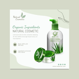 Natural cosmetic squared flyer template