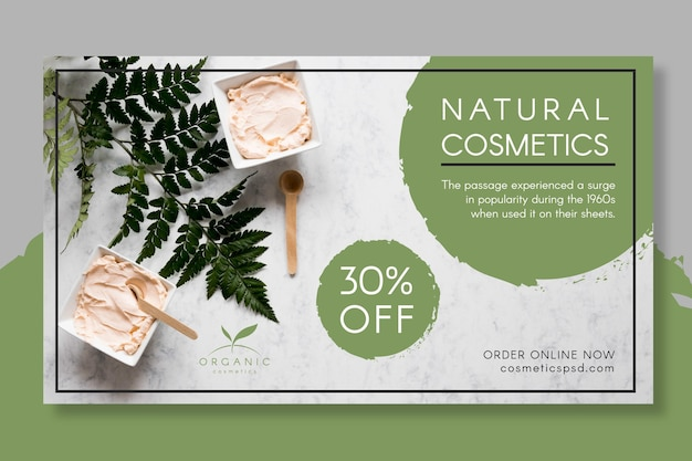 Natural cosmetics banner template with photo