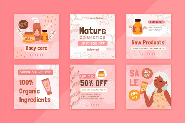 Natural cosmetics body care instagram post