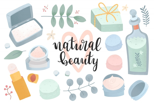Natural cosmetics collection, sustainable beauty products