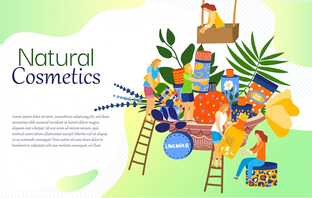Natural cosmetics concept, woman skincare products, tiny people cartoon characters,  illustration