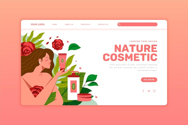 Natural cosmetics and girl landing page