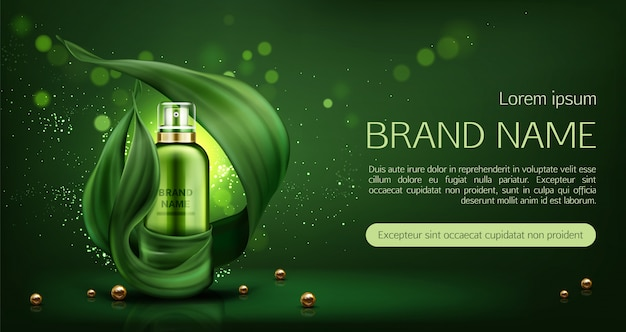 Natural cosmetics skin care lotion banner