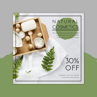Natural cosmetics square flyer template