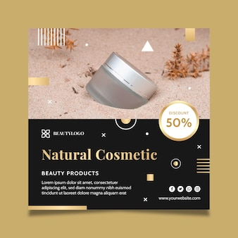 Natural cosmetics squared flyer template