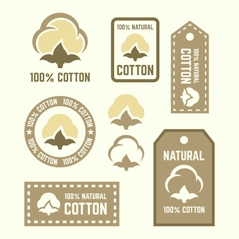 Natural cotton labels, stickers and design elements, set of organic cotton clothing tags