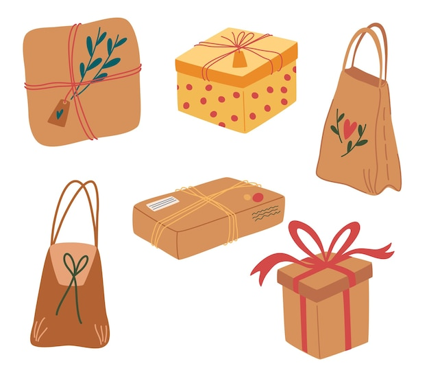 Natural craft paper package collection. gift box and present packs. set of eco packages. boxes, ribbons, branches and other decor elements. no plastic concept. vector illustration in cartoon style.