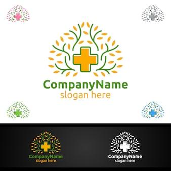 救急クリニックのドラッグストアまたはボランティアの概念のための自然なクロス医療病院のロゴ