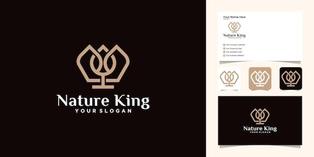 골드 컬러 템플릿과 명함이있는 자연 왕관과 잎 로고 디자인