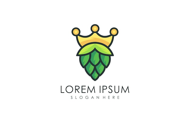 Natural crown brewing logo, natural green leaf logo vector illustration