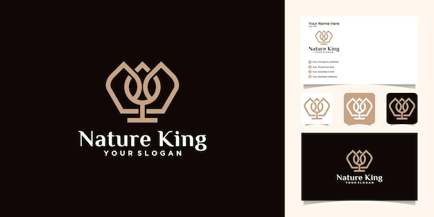 Natural crown and leaf logo design with gold color template and business card