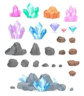 Natural crystals and stones vector set