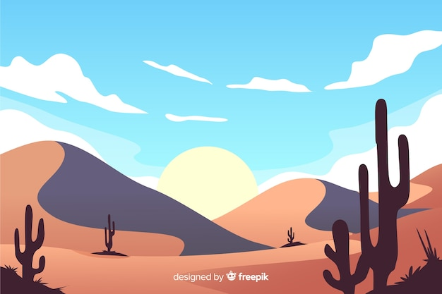 Natural desert landscape with sun