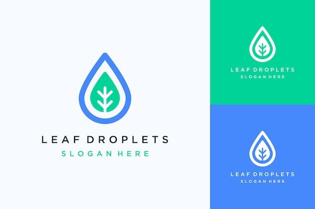 자연 디자인 로고 또는 물방울과 잎