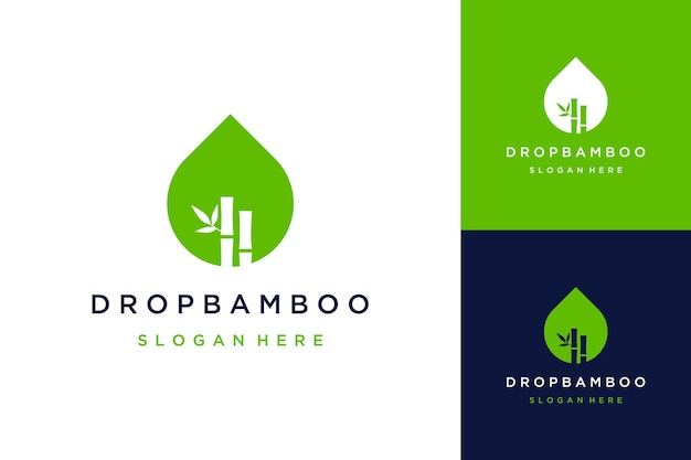 自然なデザインのロゴまたは竹と葉の水滴