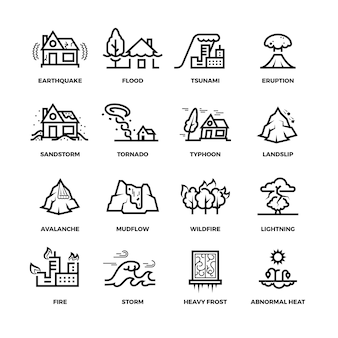 Natural disaster accidents line icons and damage symbols