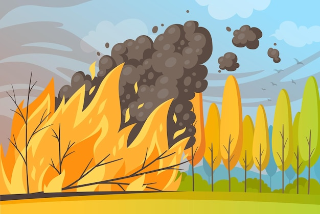 Natural disaster cartoon composition with outdoor scenery and burning trees with fire flame and smoke cloud