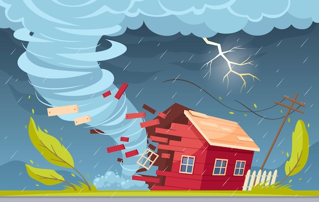 야외 교외 풍경 비 구름과 토네이도 소용돌이가 살아있는 집을 파괴하는 자연 재해 만화 구성