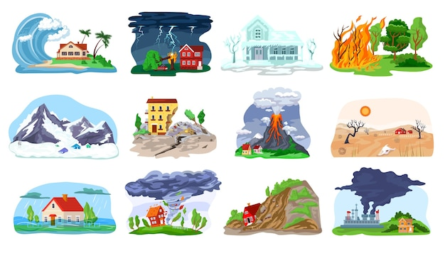 Natural disaster, catastrophe set of illustrations with tornado