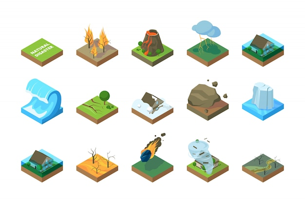 Natural disaster. global climate change environment earthquake storm tsunami wildfire in forest flood  pictures isometric