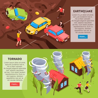 Natural disaster horizontal banners with earthquake and tornado isometric compositions