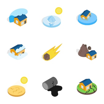 Natural disaster icons, isometric 3d style