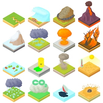 Natural disaster icons set in isometric 3d style