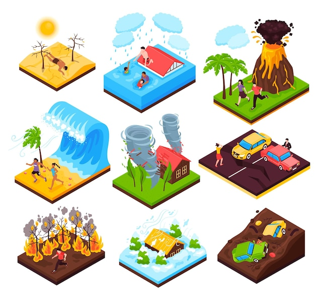 Natural disaster  set of eruption wildfire flood tornado drought tsunami isometric compositions isolated