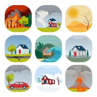 Natural disaster set vector illustration in cartoon flat style