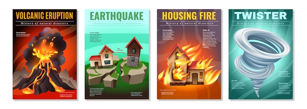 Natural disasters 4 colorful posters set with earthquake housing fire tornado twister volcanic eruption isolated