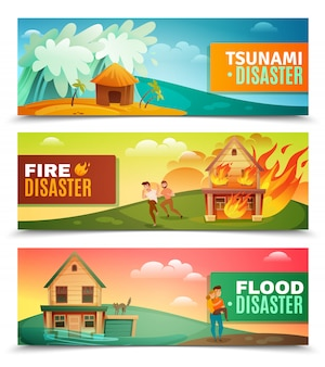 Natural disasters horizontal banner set