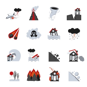 Natural disasters icons set