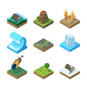 Стихийные бедствия. вулкан торнадо гроза пожар в лесу вода наводнение цунами изометрические иллюстрации