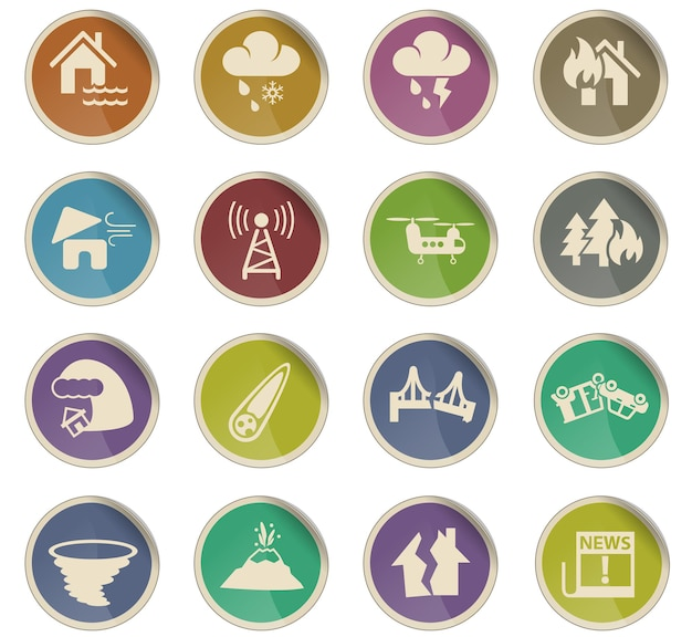 Natural disasters web icons in the form of round paper labels