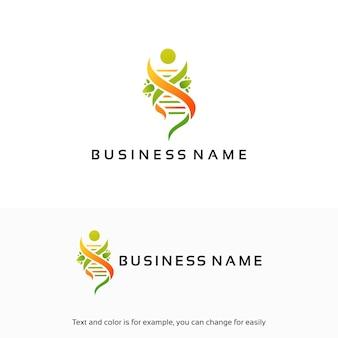 Natural dna, gen logo designs template