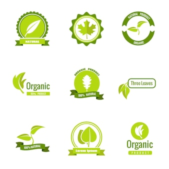 Natural, eco and organic products logos with leaves.